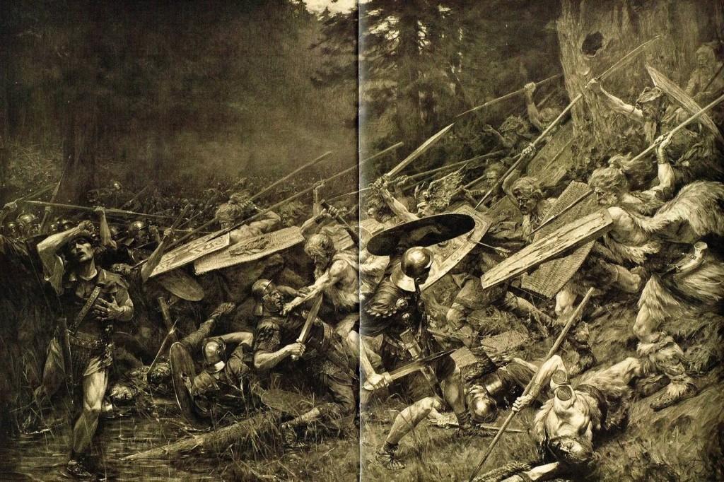 Ilustración de la Batalla del Bosque de Teutoburgo, en el año 9 d. C.