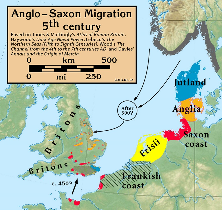 Possible Anglo-Saxon migration routes. Credit - Wikimedia Commons user Notuncurious