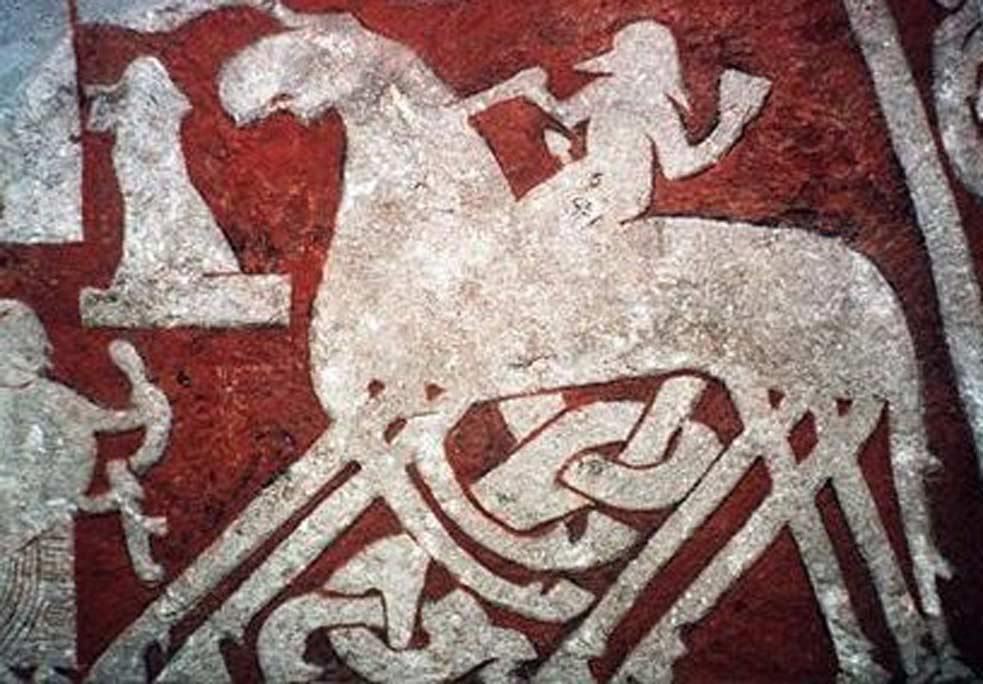 Representación de Odín cabalgando a Sleipnir. En el paganismo nórdico Odín era la deidad principal asociada al Seiðr (Public Domain)