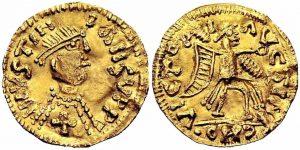 moneda de Atanagildo con nombre Justiniano